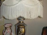 2 LARGE VICTORIAN FRENCH LAMPS WITH FRINGE BOUDOIR