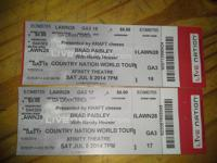 I have 2 Tickets to Brad Paisley at Xfinity Theater in