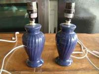 2 little navy blue lamps/no shades both for $5 call