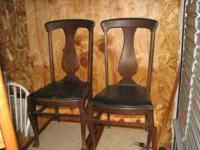 2 matching solid wood antique chairs .. made from all