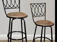 2-BRAND NEW ADJUSTABLE BLACK/BEIGE SWIVEL BAR STOOLS.