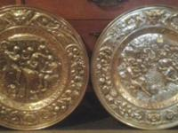 Here are 2 Metal Embossed Wall Plates. They are in good