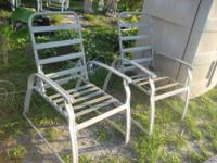 2 Metal Lawn Chairs Pair of good used lawn chairs, off