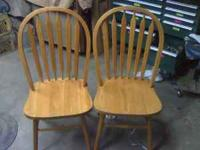 Oak kitchen chairs, decent shape, some of the clear