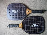 "2 Paddleball Raquets  Big H 200  16"" overall, 8 1/8 x 9"