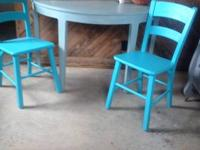 2 Youth sized chairs painted in Aqua. 20.00 each or (2)
