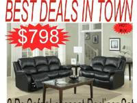 2 Pc Sofa+Loveseat Double Reclining in Black Bonded