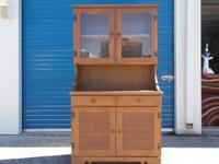 2 PC. VINTAGE CHINA CABINET w/DRAWER ? COLOR: Medium
