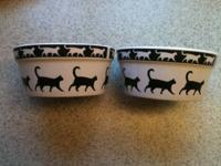 2 Petco Round Ceramic Catwalk Cat Bowls: $16.00, O.B.