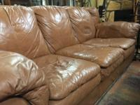 Comfy brown leather sofa couch set in fair condition: