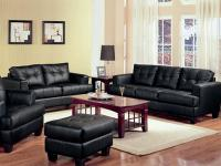 -- Classic black bonded leather sofa and love seat
