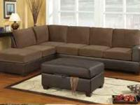 Great Looking Two Tone Sectional available with Waffle