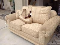 2 piece goldfish champagne colored sofa set with