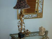 2 Piece Wrought Iron Hall Console Table and Matching