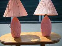2 pink lamps with shades shades have seen better days