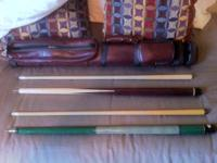 Have 2 nice pool cues and bag for sale.  One is J&J