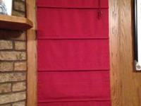 phasing out the red. 2 Red Roman Shades. 23 x 70 just