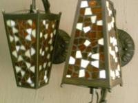 beautiful REAL GLASS & BRONZE METAL 4 designs sconce