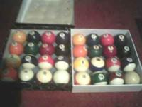 2 used sets of standard pool balls with cue ball $15 a