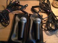 TWO SHURE SM58 MICROPHONES COMPLETE WITH MICROPHONE