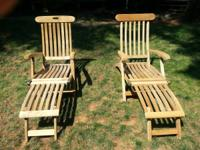 2 very nice teak deck chairs. In great shape. Enjoy the