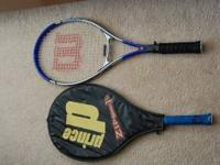 Selling 2 used tennis rackets and 3 used balls all for