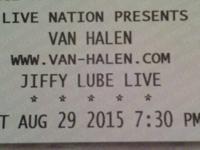 2 Van Halen tixAugust 29, 2015Jiffy Lube Live, Bristow,