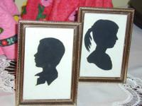 2 Silhouette 3 X 5 Prints Brother & Sister 1960's I