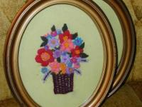 I have for sale 2 vintage floral Crewel embroidered