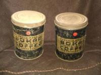 I am selling these 2 Vintage Bokar Tin Can From A & P