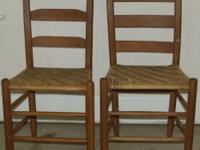 2 Vintage Ladderback Woven Chairs Normal Wear Great