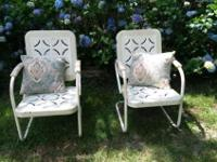 "2 vintage lawn chairs from the 1970""s era. Good"