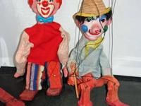 2 Vintage Marionette Clowns and Carnival Prize Dancing