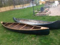 2 VINTAGE WOOD CANOES WHITE CANOE COMPANY OLD TOWN