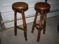 2 solid wood vintage stools with carved legs and