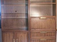"2 unit Drexel Medium Brown used Hutch Set 78""x 30.5""x"