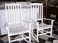 Set of 2 high back Rocking Chairs in white satin