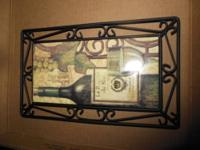 WINE BOTTLE, GRAPES AND GLASSES MOTIF STYLIZED METAL