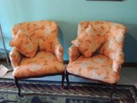 For sale: 2 wing back style side arm chairs in Queen