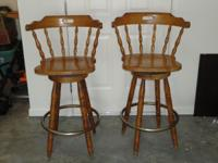 This is a matching set of real wood bar stools that