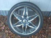 "I have for sale universal five lugs 20"" akuza rims with"