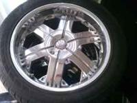 "20"" Chrome rims,5 lug universal not bad shape,about 50%"