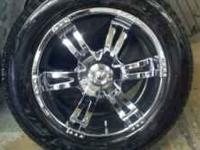 "20 "" crome wheels 6 lug gm and chevy nissan 2 tires"