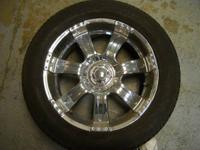 "Set of four 285/50R20 tires on 20"" x 9.5 chrome wheels,"