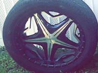 "I have 20"" forte black and chrome rims and tires for"