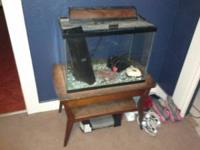 20 gallon fish with a stand, 2 waterfall type filters,