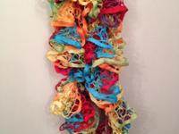 These are hand crocheted ruffle scarfs, great for a