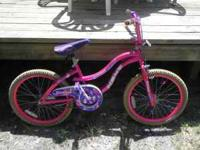 "Very nice used NEXT girls 20"" hot pink bicycle $25.00"