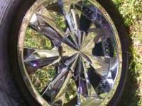 VERY NICE CHROME 20 INCH RIMS AND TIRES 275/45/20 THE