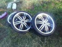 3 20 inch rims with tires. fourth rim busted. open to